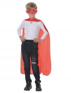 Superhelden-Set für Kinder Cape mit Maske rot