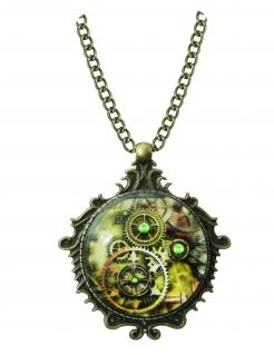 Steampunk-Halskette Schmuck grün