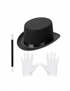 Magier-Zubehörset für Kinder Halloween-Accessoires schwarz-weiß