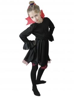 Vampir-Kostüm für Mädchen mit Kragen Halloweenkostüm schwarz-rot