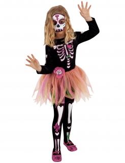 Tag-der-Toten-Kostüm für Mädchen Halloween schwarz-bunt