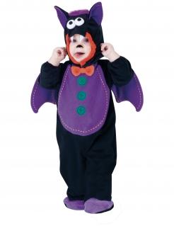 Süßes Fledermaus-Babykostüm für Halloween schwarz-lila