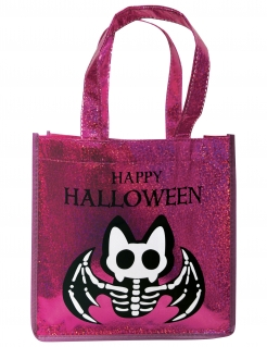 Fledermaus-Tasche für Kinder Happy Halloween pink-glitzer