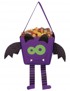 Fledermaus-Tasche für Kinder Trick or Treat violett-schwarz-grün 17 cm