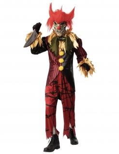 Psychopath-Horrorclown-Kostüm für Herren Halloweenkostüm rot-schwarz-gelb