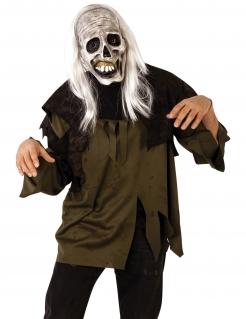 Zombie-Maske mit Haaren Halloween grau-weiss