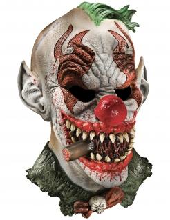 Furchterregende Horrorclown-Maske mit Zigarre Halloween-Maske bunt
