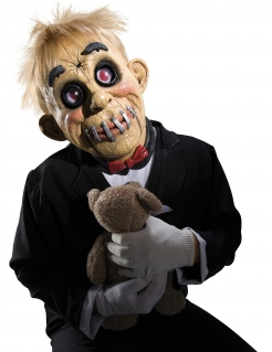 Puppen-Maske für Erwachsene Halloween-Maske beige-schwarz