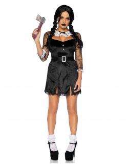 Finsteres Mörder-Mädchen Halloween-Damenkostüm schwarz-weiß