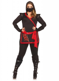 Ninja-Kostüm für Damen Plus size Halloween-Kostüm schwarz-rot
