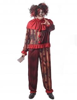 Blutiges Psychoclown-Herrenkostüm rot-schwarz-beigefarben