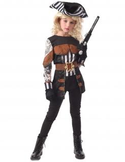 Furchtlose Piratenkönigin Halloween-Mädchenkostüm schwarz-weiß-braun