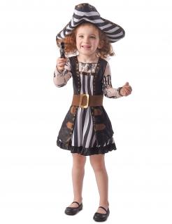 Tätowierte Piraten-Kapitänin Mädchenkostüm schwarz-weiß-beigefarben