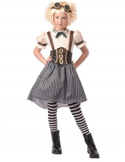 Steampunk-Kostüm für Mädchen Kleid mit Fliegerbrille weiss-schwarz-braun