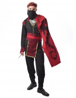 Verwegenes Ninja-Kostüm für Herren Halloween schwarz-rot