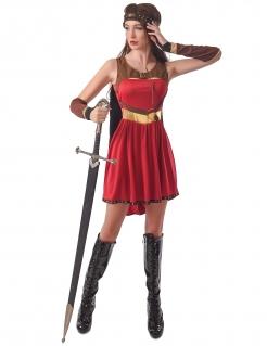 Mittelalter-Kostüm für Damen Kriegerin rot-braun-gold