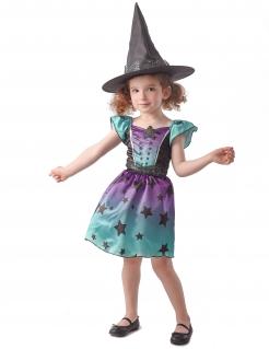 Sternen-Hexenkostüm für Kinder Halloween blau-lila-schwarz