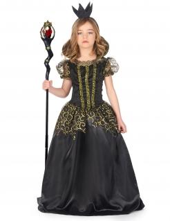 Schwarze Königin Kostüm für Mädchen schwarz-goldfarben