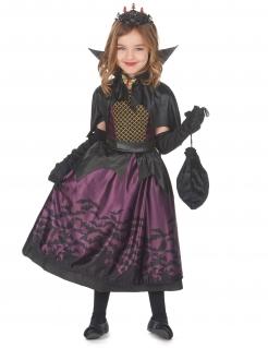 Elegantes Vampir-Kostüm für Mädchen violett-schwarz-goldfarben