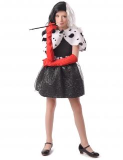Bösewichtin Film-Kostüm für Kinder Halloween schwarz-weiss-rot