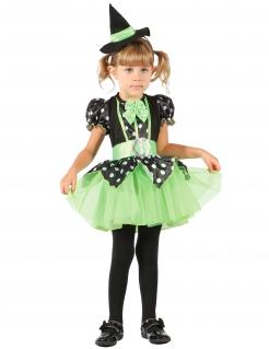 Wunderschönes Hexen-Kostüm für Kinder grün-schwarz-weiß