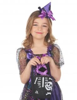 Skelett-Handtasche für Mädchen Halloween-Accessoire schwarz-weiß