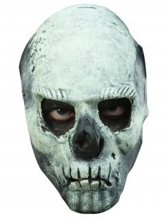 Totenkopf-Maske nachtleuchtend für Erwachsene grau-schwarz