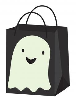Geister-Süßigkeiten-Tasche mit Leuchteffekt. 22 cm