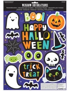 Hallloween-Stickerbogen mit 17 Halloween-Stickern bunt