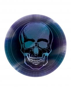 Schimmernde Totenkopf-Pappteller 8 Stück schwarz-blau 23 cm