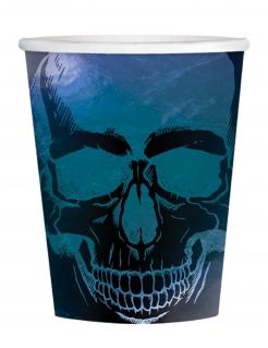 Schimmernder Totenkopf-Pappbecher 16 Stück schwarz-blau 250 ml