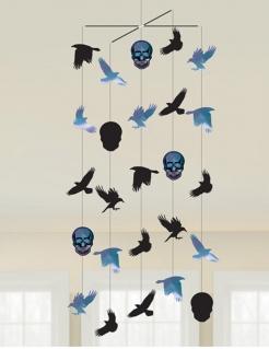 Halloween-Mobilee Krähen und Schädel schwarz-blau 100 x 40 cm