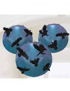 Krähen-Laternen 5 Stück blau-lila-schwarz