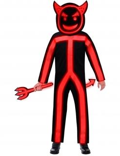 Leuchtendes Teufel-Kostüm für Kinder Halloween-Kostüm schwarz-rot