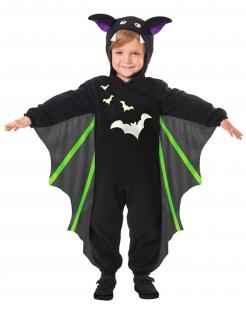 Fledermaus-Kinderkostüm Halloween-Kostüm schwarz-grün-violett