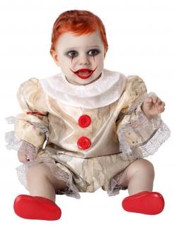Halloween-Clown-Kostüm für Babys beige-weiss-rot