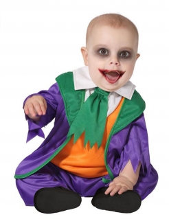 Halloween-Clown-Kostüm für Babys  lila-orange-grün