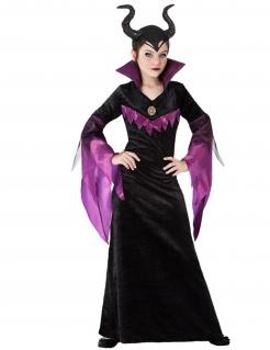 Dunkle-Fee-Kostüm für Kinder Magierin Halloween schwarz-lila