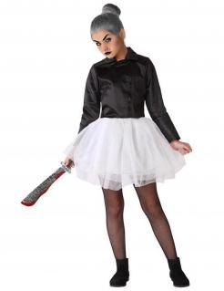 Puppe-Kostüm für Kinder Rocker-Puppe Halloween schwarz-weiss