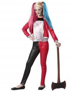 Modernes Harlekin-Kostüm für Mädchen 3-teilig schwarz-rot