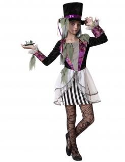 Halloween-Verückter-Hutmacher-Kostüm für Mädchen Geister schwarz-weiss-violett