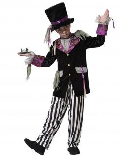 Halloween-Hutmacher-Kostüm für Jungen Geister schwarz-weiss-violett