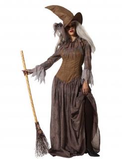 Traditionelles Hexen-Kostüm für Damen mit Fransen Halloweenkostüm braun