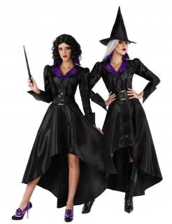Hexen-Damenkostüm mit Hut Halloween-Kostüm schwarz-violett