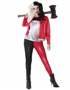Modernes Harlekin-Kostüm für Damen 3-teilig schwarz-rot