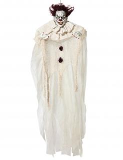 Unheimlicher Psychoclown Halloween-Hängedeko weiß-rot-schwarz 130 cm