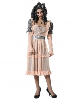 Horror-Porzellan-Puppe Damenkostüm Halloweenkostüm beige-grau
