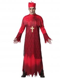 Zombie-Kardinal Herrenkostüm für Halloween rot-schwarz