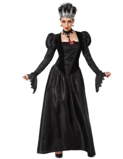Düstere Gothic-Königin Kostüm für Damen Halloweenkostüm schwarz