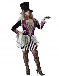 Düsteres Hutmacherin-Kostüm für Damen Halloween-Kostüm schwarz-weiss-violett